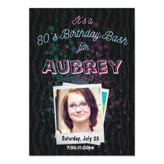 80s Birthday Bash Invitation - 1980s theme 5x7