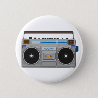 80'S BOOMBOX/GHETTO BLASTER 2 INCH ROUND BUTTON