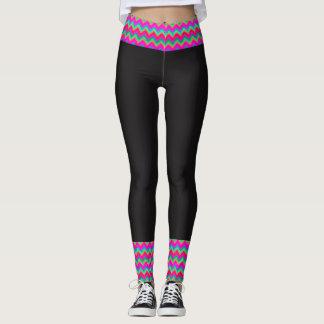80's Bordered Neon Black Leggings