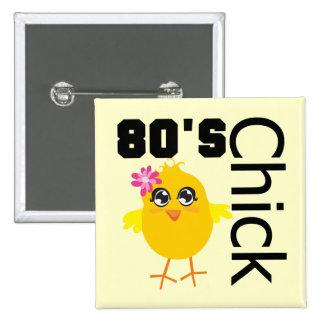 80's Chick 2 Inch Square Button