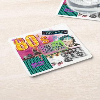80s Collage Square Paper Coaster