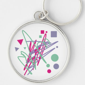 80s design eighties vintage splash medley art Silver-Colored round keychain