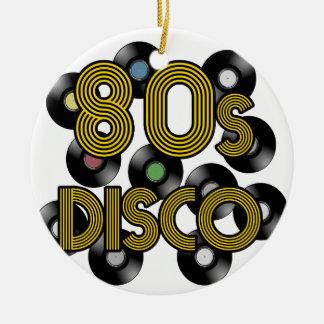 80s disco vinyl records ceramic ornament