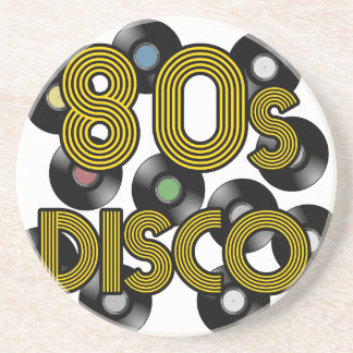 80s disco vinyl records coaster