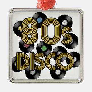 80s disco vinyl records metal ornament