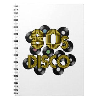 80s disco vinyl records notebook