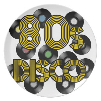 80s disco vinyl records plate