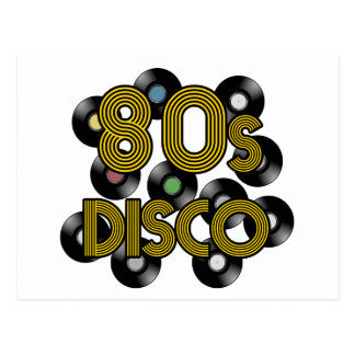 80s disco vinyl records postcard