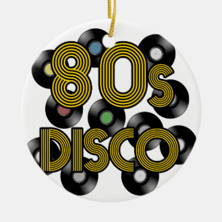80s disco vinyl records round ceramic ornament