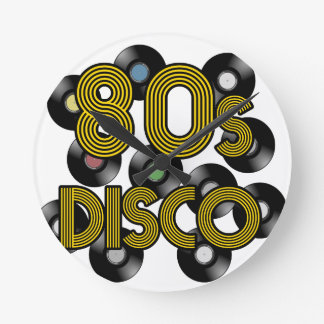 80s disco vinyl records round clock