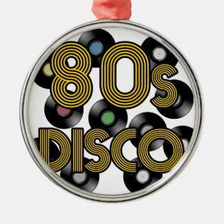 80s disco vinyl records Silver-Colored round ornament