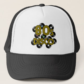 80s disco vinyl records trucker hat