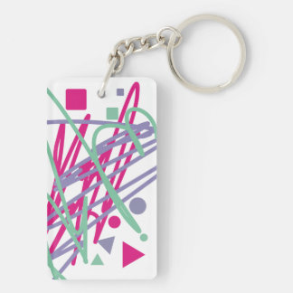 80s eighties vintage colors splash medley art girl Double-Sided rectangular acrylic keychain