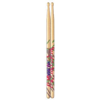 80s eighties vintage colors splash medley art girl drumsticks