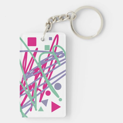 80s eighties vintage colors splash medley art girl rectangle acrylic key chains