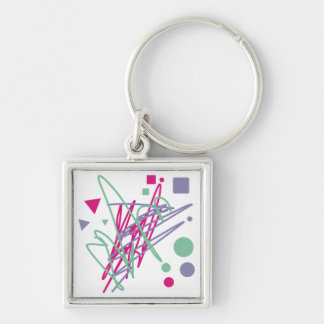 80s eighties vintage colors splash medley art girl Silver-Colored square keychain
