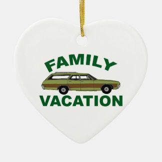 80s Family Vacation Ceramic Heart Ornament