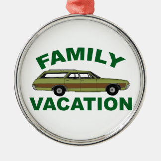 80s Family Vacation Silver-Colored Round Ornament