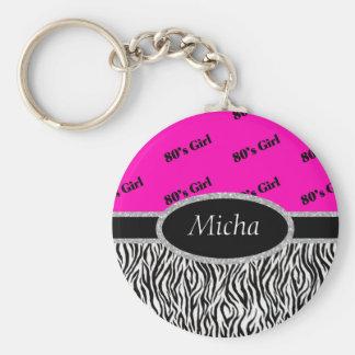 80's Girl Neon Pink & Zebra Monogram Basic Round Button Keychain
