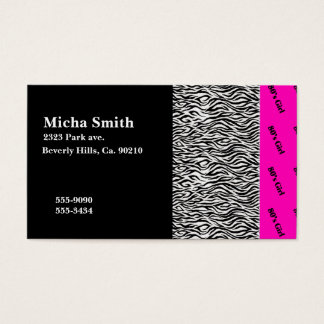 80's Girl Neon Pink & Zebra Monogram Business Card