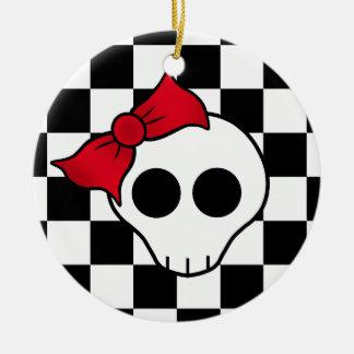 80s girly skull round ceramic ornament
