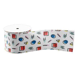 80's Memphis Abstract Style Grosgrain Ribbon