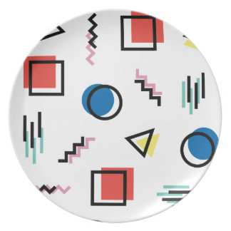80's Memphis Abstract Style Plate