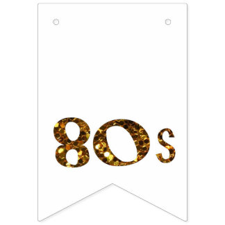 80s Nostalgia Gold Glitter Bunting Flags