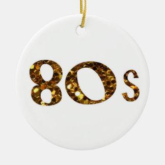 80s Nostalgia Gold Glitter double-sided Ceramic Ornament
