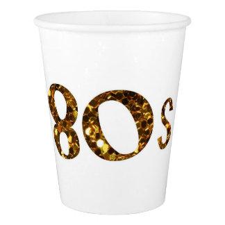 80s Nostalgia Gold Glitter Paper Cup