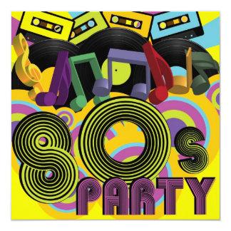 """80s Party 5.25"""" Square Invitation Card"""