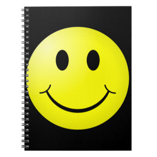 80s Pop Culture Yellow Smiley Emoticon Spiral Note Book