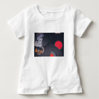 80's Retro Cassette Tapes and Vinyl Records Baby Romper