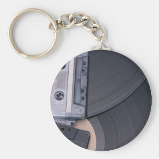 80's Retro Cassette Tapes and Vinyl Records Basic Round Button Keychain