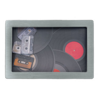 80's Retro Cassette Tapes and Vinyl Records Belt Buckle