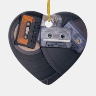 80's Retro Cassette Tapes and Vinyl Records Ceramic Heart Ornament