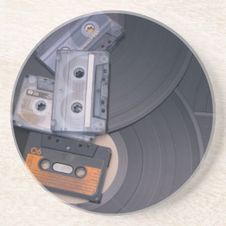80's Retro Cassette Tapes and Vinyl Records Coaster