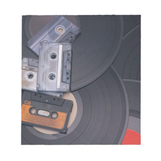 80's Retro Cassette Tapes and Vinyl Records Notepad