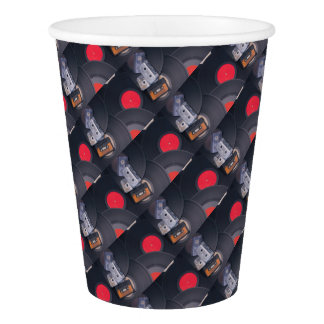 80's Retro Cassette Tapes and Vinyl Records Paper Cup