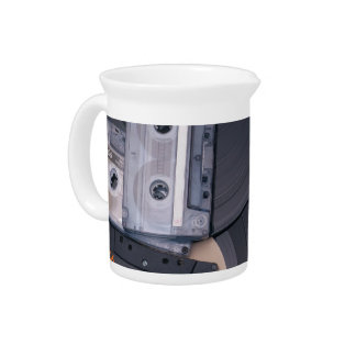 80's Retro Cassette Tapes and Vinyl Records Pitcher