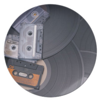 80's Retro Cassette Tapes and Vinyl Records Plate