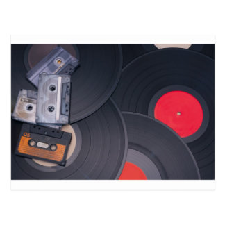 80's Retro Cassette Tapes and Vinyl Records Postcard
