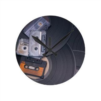 80's Retro Cassette Tapes and Vinyl Records Round Clock