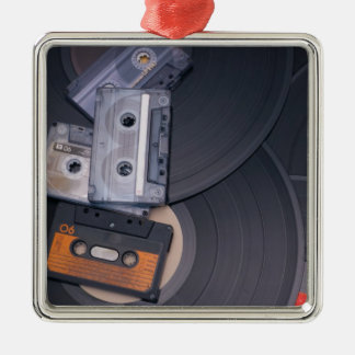 80's Retro Cassette Tapes and Vinyl Records Silver-Colored Square Ornament