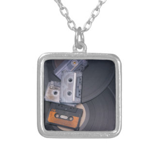 80's Retro Cassette Tapes and Vinyl Records Silver Plated Necklace