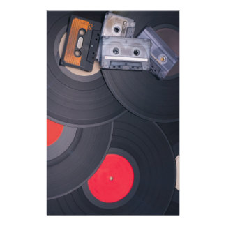 80's Retro Cassette Tapes and Vinyl Records Stationery