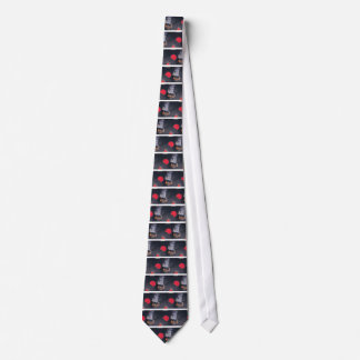80's Retro Cassette Tapes and Vinyl Records Tie