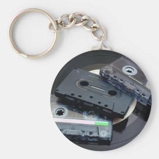 80's Retro Design - Audio Cassette Tapes Basic Round Button Keychain