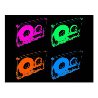 80's Retro Design - Audio Cassette Tapes Postcard