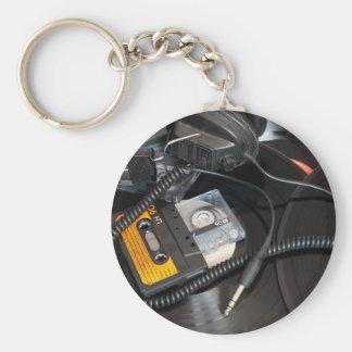 80's Retro Design Basic Round Button Keychain